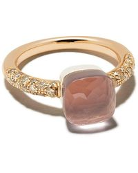 Pomellato 18kt Rose Gold Diamond Stone Ring - Pink