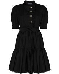 BATSHEVA ラッフルディテール ベルテッド ドレス - ブラック