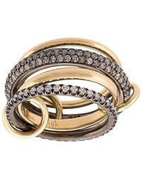 Spinelli Kilcollin 18kt Yellow And Black Rhodium Silver Vega Diamond 4 Link Ring - Metallic