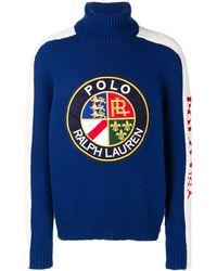Polo Ralph Lauren Pull à logo devant - Bleu
