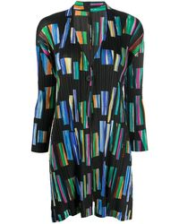 Pleats Please Issey Miyake Hopscotch Colours Overcoat - Black