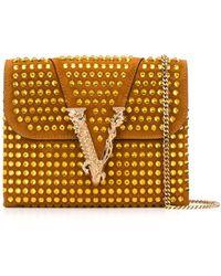 Versace Клатч Virtus С Заклепками - Коричневый