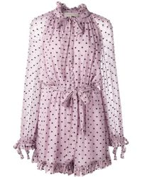 7989961f482 Zimmermann Gossamer Polka-dot Embroidered Silk Jumpsuit in Black - Lyst