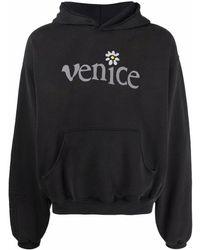 ERL Venice-print Cotton Hoodie - Black
