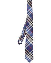 Burberry Klassisch geschnittene Krawatte aus Seidenjacquard mit Karomuster - Blau