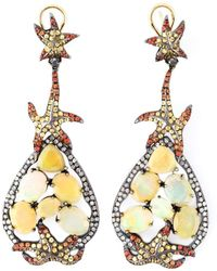 Gemco 14kt Yellow Gold Diamond, Sapphire And Opal Earrings
