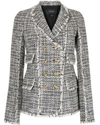 Giambattista Valli Double-breasted Tweed Blazer - Black