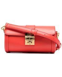 MCM Cylinder Satchel Bag - Red