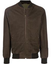 Mr & Mrs Italy Branded leather bomber jacket - Marron