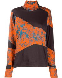 Colville Roll Neck Panelled Print Sweatshirt - Black