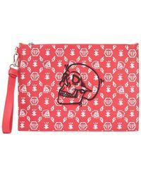 Philipp Plein Zipped Logo Print Clutch Bag - Red