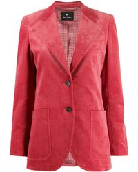 PS by Paul Smith Ribbed Single-breasted Blazer - Pink