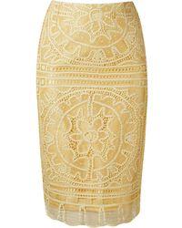 Martha Medeiros 'renascença' Lace Pencil Skirt - Yellow