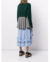 Enfold Layered Ruffle-hem Knitted Cardigan - Green