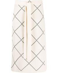 Proenza Schouler Windowpane Wrap Skirt - Natural