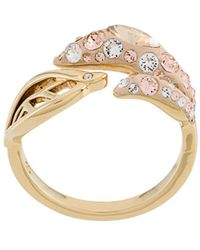 Atelier Swarovski Embellished Leaf Ring - Metallic