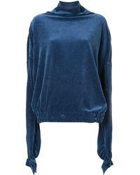 Paula Knorr Velour Draped Top - Blue