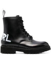 Karl Lagerfeld バックロゴ ブーツ - ブラック