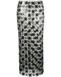Paco Rabanne Flower Panel Skirt - Black