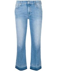 7 For All Mankind - Flared Cropped Jeans - Lyst
