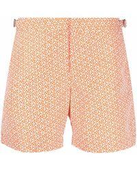 Orlebar Brown Geometric-print Swim Shorts - Orange