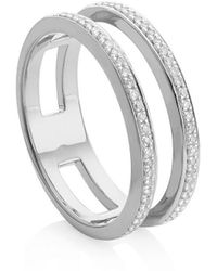 Monica Vinader Skinny Double Band Diamond Ring - Metallic