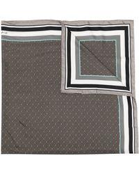 Shanghai Tang ジオメトリックパターン シルクスカーフ - グレー