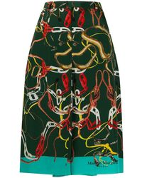 Maison Margiela チェーンプリント Aラインスカート - グリーン
