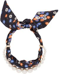 Miu Miu Pearl-embellished Scarf Necklace - Blue