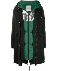 Yves Salomon レイヤード パデッドジャケット - ブラック