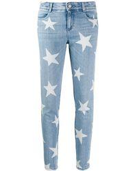 Stella McCartney Skinny Star Printed Denim Jeans - Blue