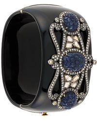 Gemco Wide Embellished Bangle - Black