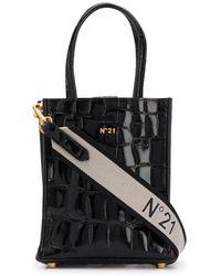 N°21 Embossed-leather Bag - Black