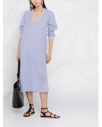 Nili Lotan ピンストライプ シャツドレス - ブルー