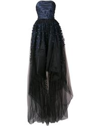 Oscar de la Renta Strapless Embroidered Tulle Gown - Blue