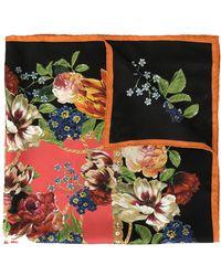 Dolce & Gabbana Sjaal Met Bloemenprint - Zwart