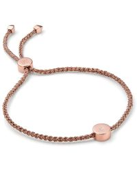 Monica Vinader Bracelet Linear Solo Friendship en or rose 18ct - Marron