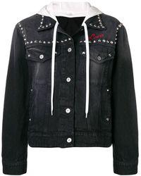 Miu Miu フラワー デニムジャケット - ブラック