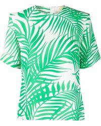 Sara Battaglia Blusa de crepé con estampado de hojas de palma - Verde