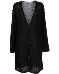 Yohji Yamamoto Open-knit Long Cardigan - Black