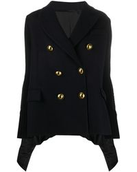Sacai Contrast Panel Embossed Button Double-breasted Coat - Blue