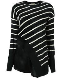 Nude - Striped Asymmetric Knit Blouse - Lyst