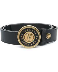 Versace Jeans Couture Logo-plaque Leather Belt - Black