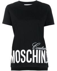 Moschino Logo Print Asymmetric T-shirt - Black