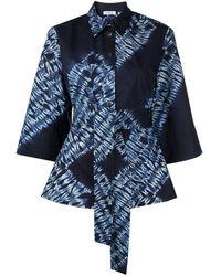 P.A.R.O.S.H. Рубашка С Завязками И Принтом Тай-дай - Синий