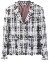 Thom Browne Unconstructed Oversized Classic Sb S/c W/ Fray In Chenille Yarn Ribbon Tweed - Gray