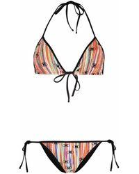 M Missoni Striped Print Bikini Set - Black