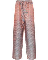 Comme des Garçons Pantalon bleu et orange E Pattern - Multicolore