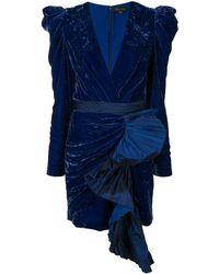 Zuhair Murad Ruffle Velvet Mini Dress - Blue