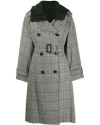 Juun.J Boxy Checked Double-breasted Coat - Black